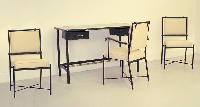 Exceptional Desk Set by Jacques Adnet In Good Condition For Sale In Los Angeles, CA