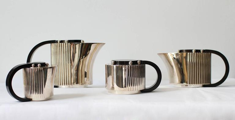 "French Puiforcat Elegant Silver-plate Art Deco Tea & Coffee Service ""Etchea"" For Sale"