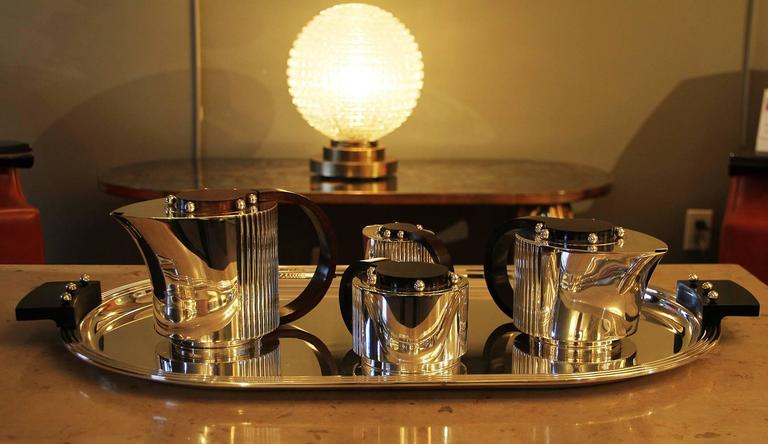 "Puiforcat Elegant Silver-plate Art Deco Tea & Coffee Service ""Etchea"" 2"