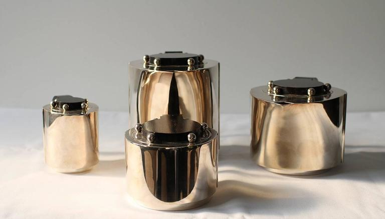 """Puiforcat Elegant Silver-plate Art Deco Tea & Coffee Service """"Etchea"""" In Excellent Condition For Sale In Los Angeles, CA"""