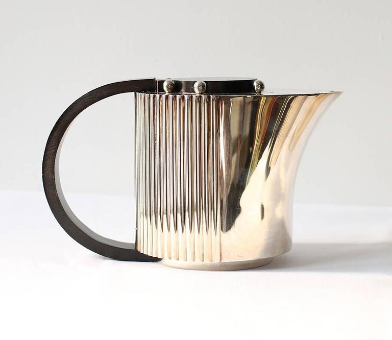 "Late 20th Century Puiforcat Elegant Silver-plate Art Deco Tea & Coffee Service ""Etchea"" For Sale"