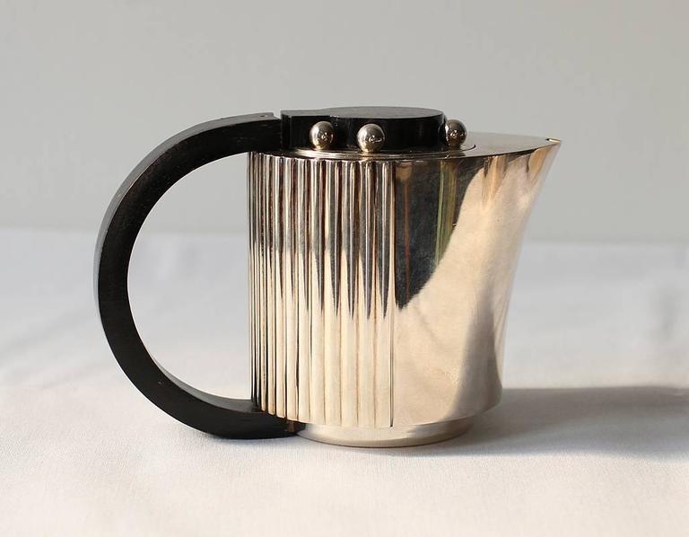 "Rosewood Puiforcat Elegant Silver-plate Art Deco Tea & Coffee Service ""Etchea"" For Sale"