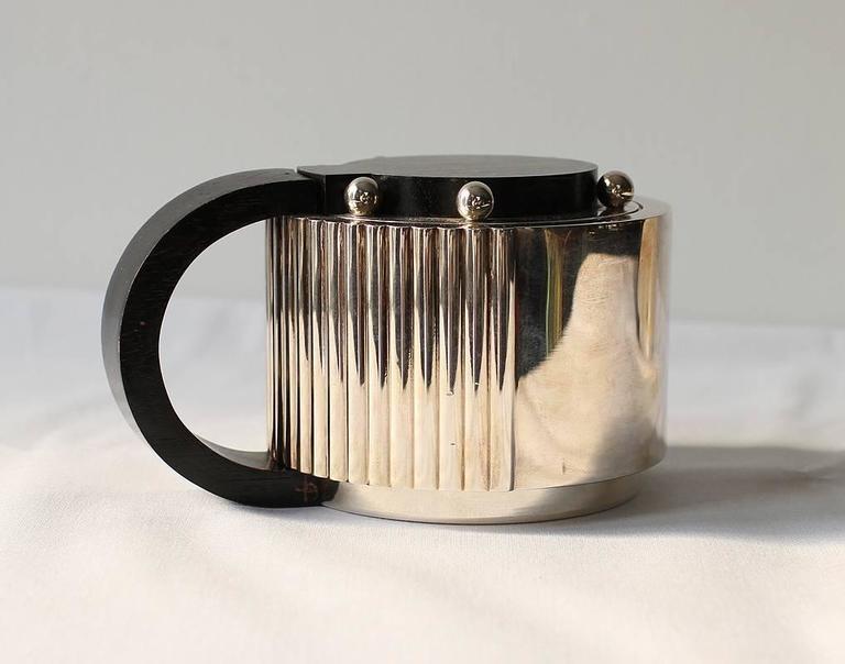 "Puiforcat Elegant Silver-plate Art Deco Tea & Coffee Service ""Etchea"" For Sale 1"
