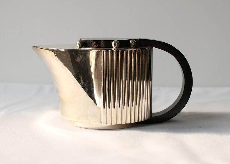 "Puiforcat Elegant Silver-plate Art Deco Tea & Coffee Service ""Etchea"" For Sale 2"