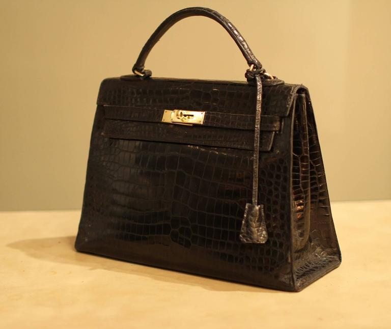 vintage hermes kelly crocodile bag for sale at 1stdibs. Black Bedroom Furniture Sets. Home Design Ideas