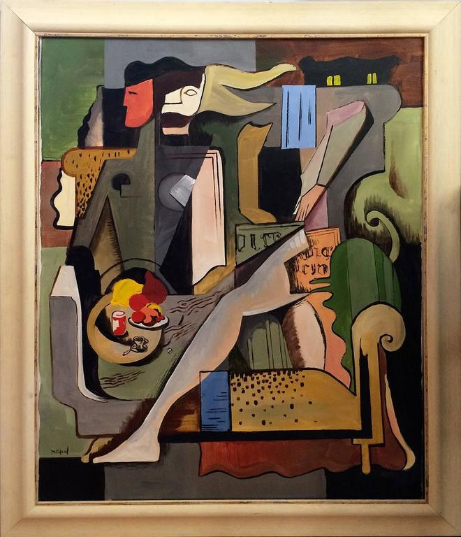 Greg Mathias very important acrylic on canvas by this French artist depicting a cubist lady in an interior. This painting is one of the artist's masterpiece. The painting is signed bottom left. Textured wooden frame.  Provenance: