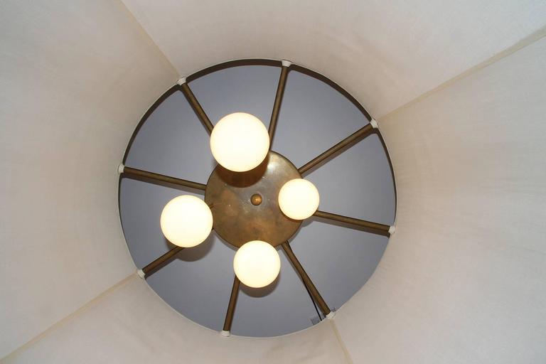 4FT Diameter Bronze and Silk Chandelier, France, 1940 In Good Condition For Sale In Los Angeles, CA