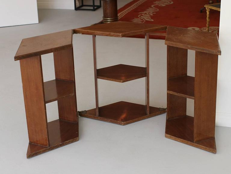 Bronze Eugene Printz, Walnut Folding Bookcase Table, 1930 For Sale