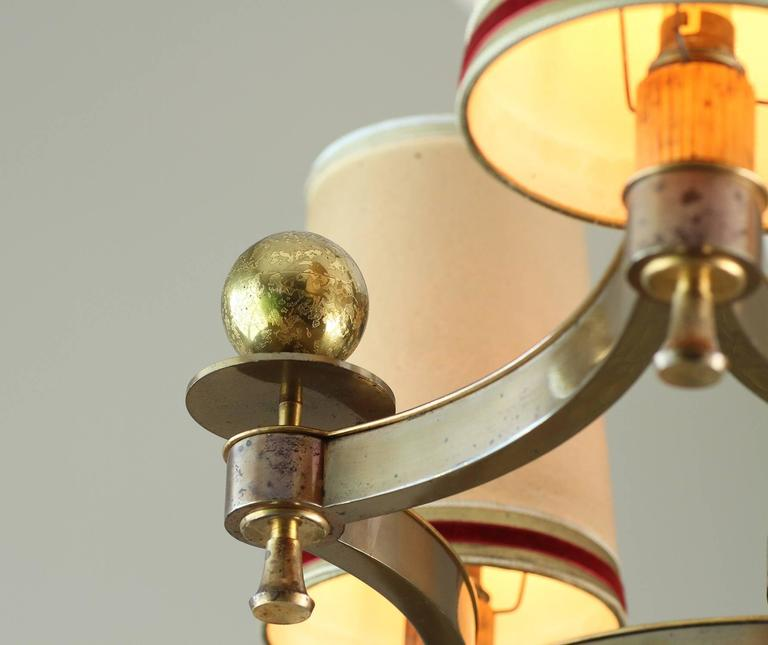 Brass Exceptional Chandelier by Maxime Old, 1946 For Sale