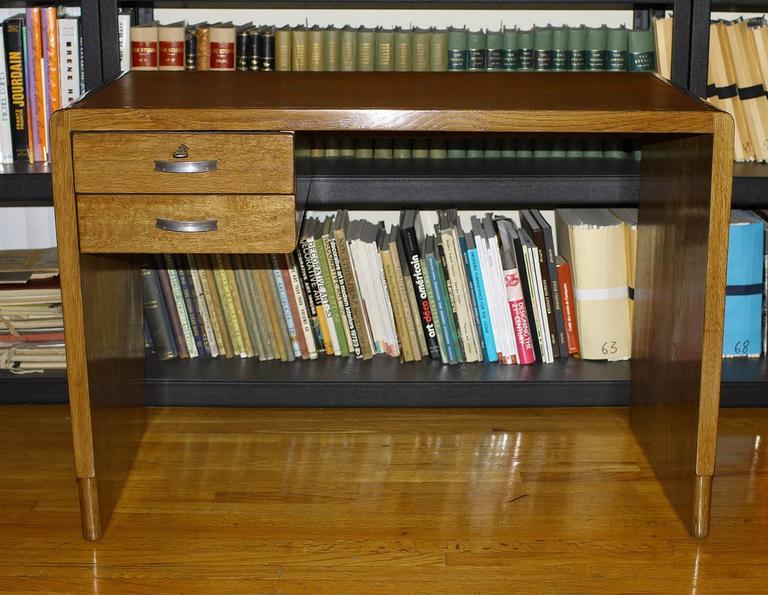 French Jean Pascaud Oak Student Desk 1930 For Sale