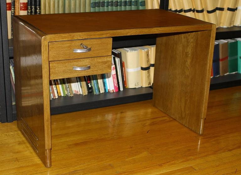 Art Deco Jean Pascaud Oak Student Desk 1930 For Sale
