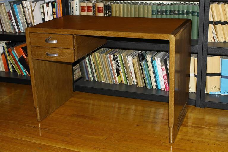 Jean Pascaud Oak Student Desk 1930 In Excellent Condition For Sale In Encino, CA