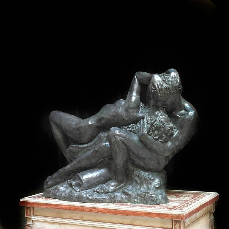 Extraordinary and significant bronze sculpture, France, 20th century  The artist has created a work that solidifies the expressive, sensual and triumphant representation of true love. This sculpture depicts the most enduring love stories of all