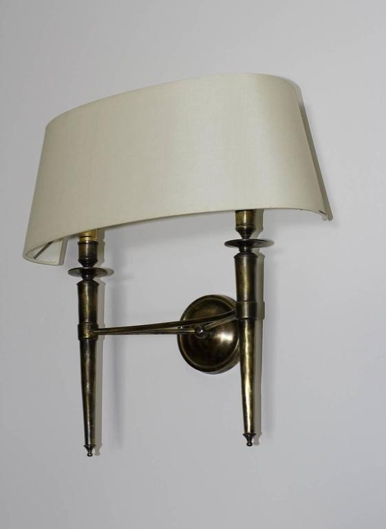 Prince De Galles Hotel Elegant Pair of Oxidized Brass Sconces 1940 In Good Condition For Sale In Encino, CA