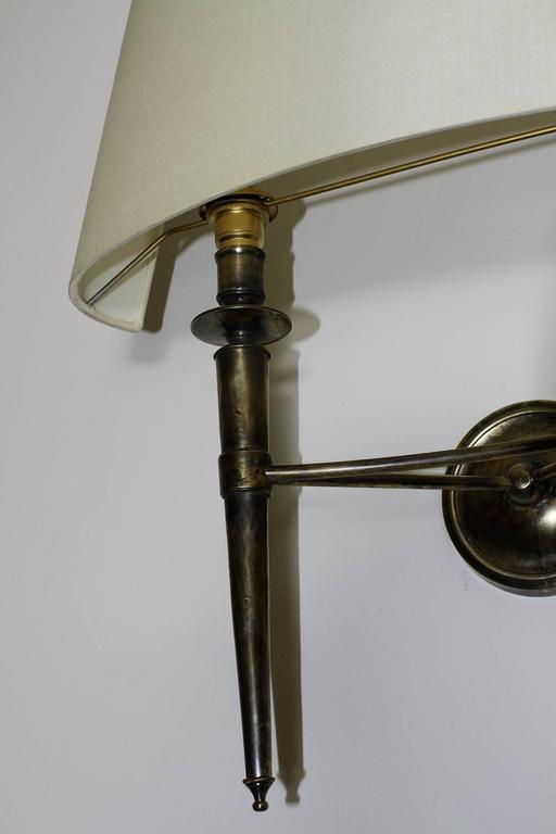 Mid-20th Century Prince De Galles Hotel Elegant Pair of Oxidized Brass Sconces 1940 For Sale