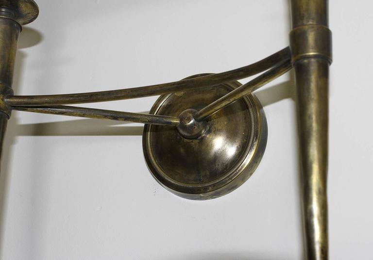Prince De Galles Hotel Elegant Pair of Oxidized Brass Sconces 1940 For Sale 1