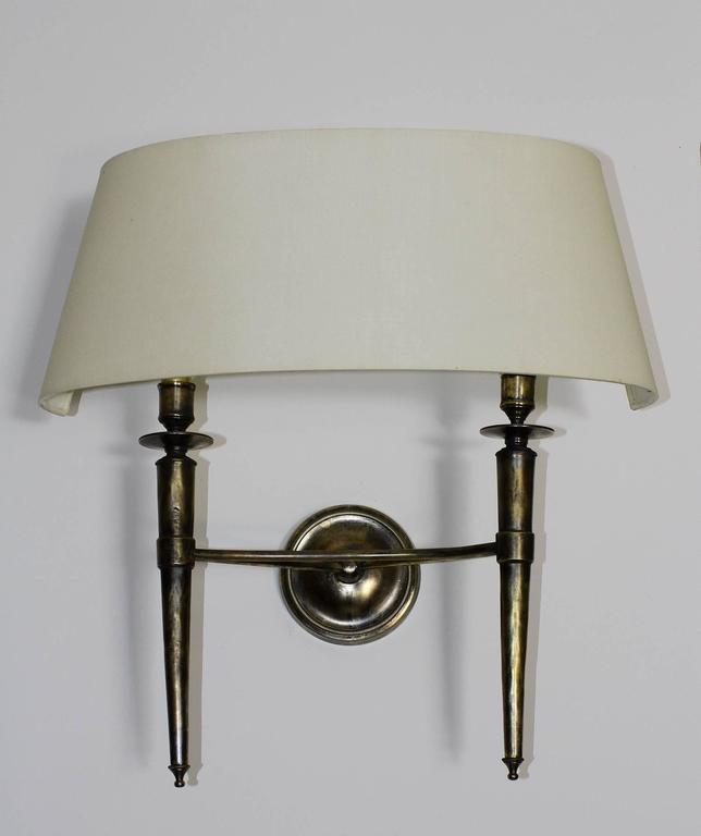 French Prince De Galles Hotel Elegant Pair of Oxidized Brass Sconces 1940 For Sale