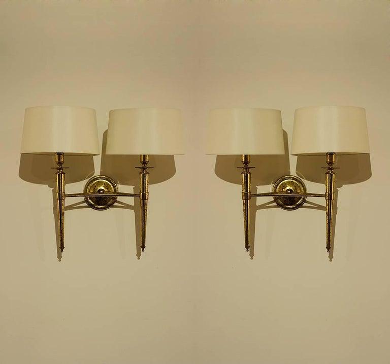 Prince de Galles Hotel, Elegant Set of Four Brass Sconces, 1940 2