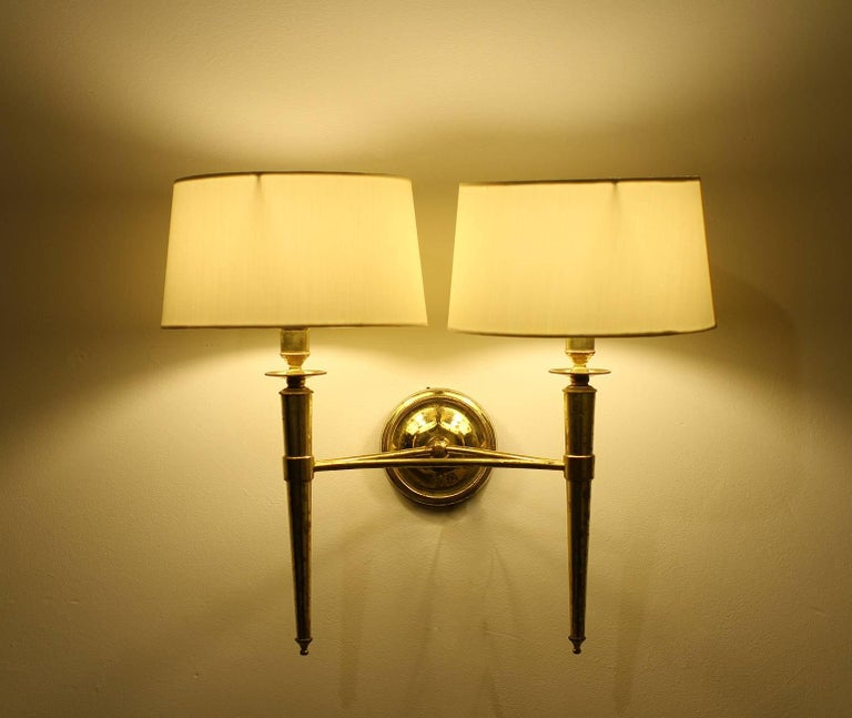 Prince de Galles Hotel, Elegant Set of Four Brass Sconces, 1940 In Good Condition For Sale In Los Angeles, CA