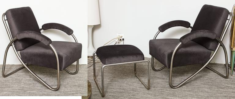 Bauhaus Anton Lorenz Thonet Tubular Steel Lounge Chairs and Ottoman For Sale