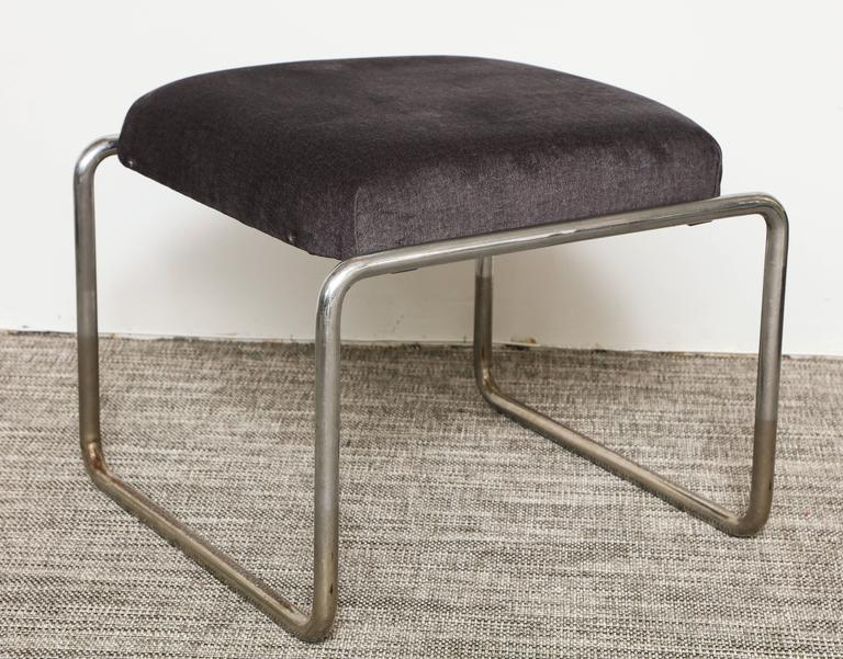 Anton Lorenz Thonet Tubular Steel Lounge Chairs and Ottoman In Good Condition For Sale In New York, NY
