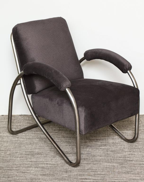 German Anton Lorenz Thonet Tubular Steel Lounge Chairs and Ottoman For Sale