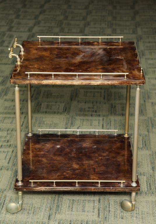 Aldo Tura Lacquered Goatskin Bar Cart  In Good Condition For Sale In New York, NY