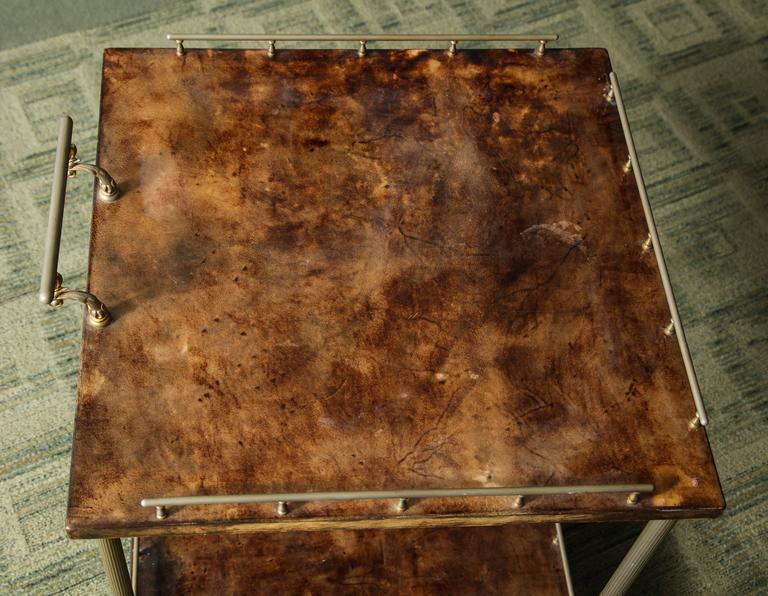 Mid-20th Century Aldo Tura Lacquered Goatskin Bar Cart  For Sale