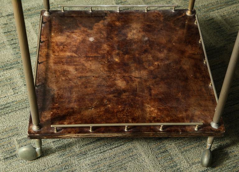 Aldo Tura Lacquered Goatskin Bar Cart  For Sale 1