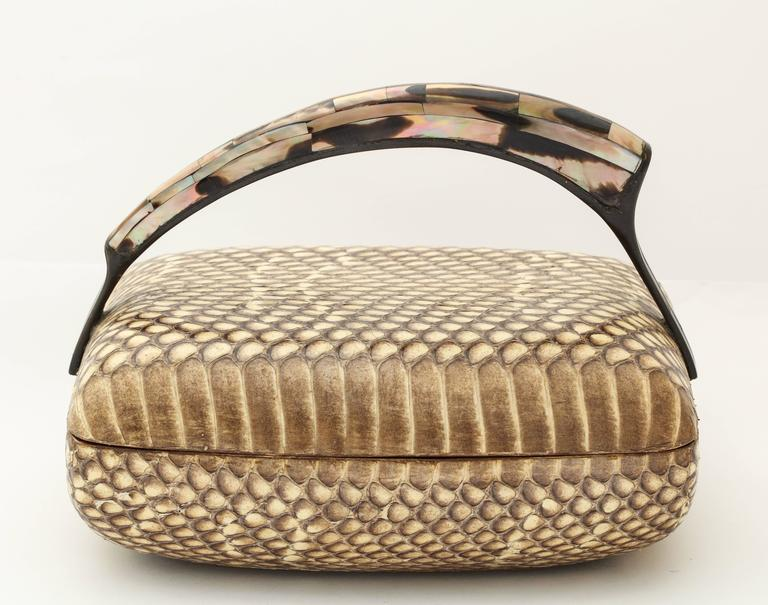 Late 20th Century R & Y Augousti Snake Skin Covered  Box with Mother-of-pearl Handle For Sale