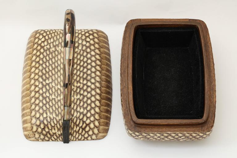 Animal Skin R & Y Augousti Snake Skin Covered  Box with Mother-of-pearl Handle For Sale