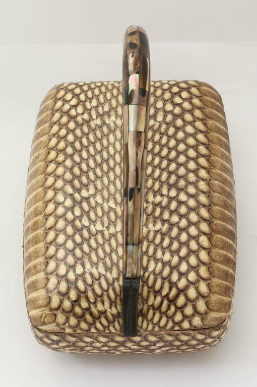 Modern R & Y Augousti Snake Skin Covered  Box with Mother-of-pearl Handle For Sale