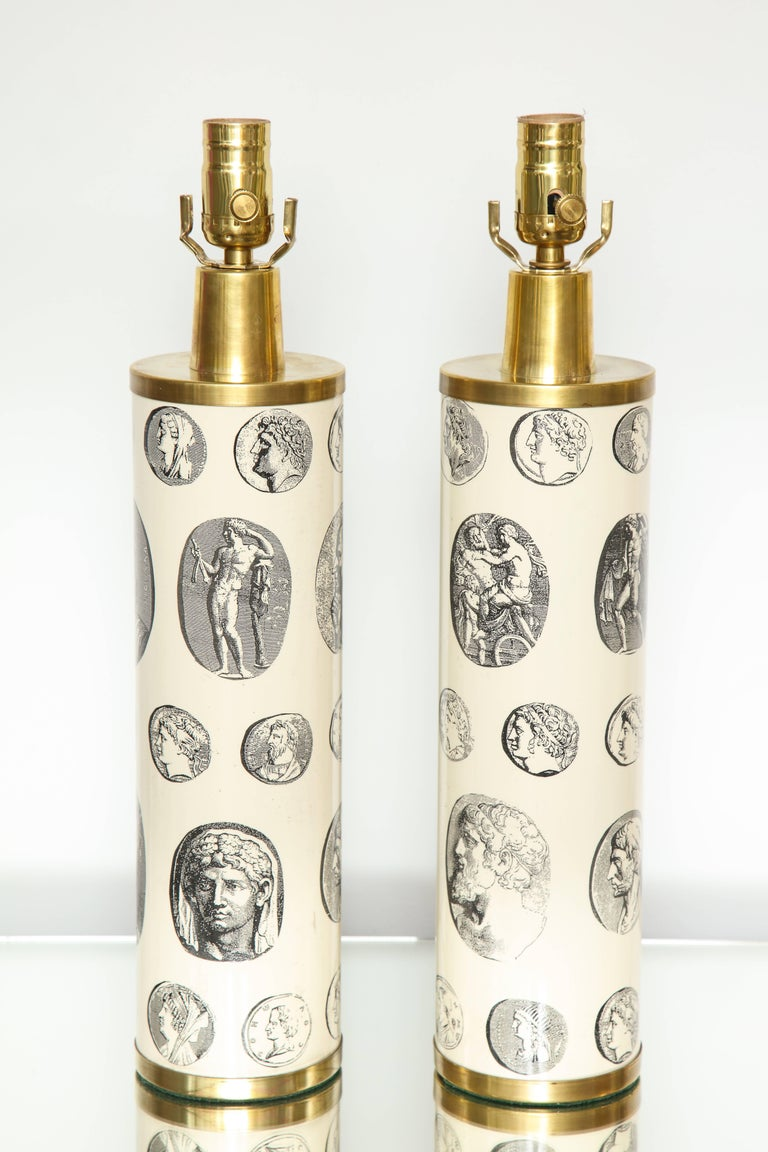 Fornasetti 'Cameo' Lamps  In Good Condition For Sale In New York, NY