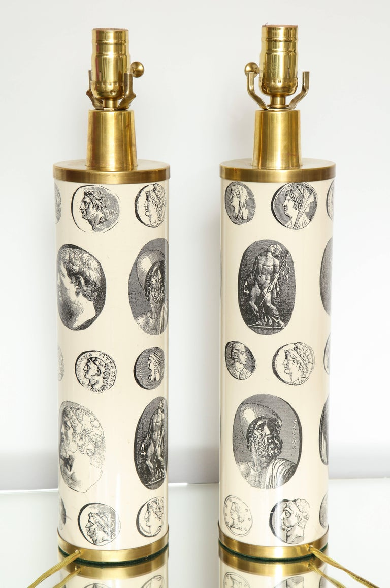 Fornasetti 'Cameo' Lamps  For Sale 4