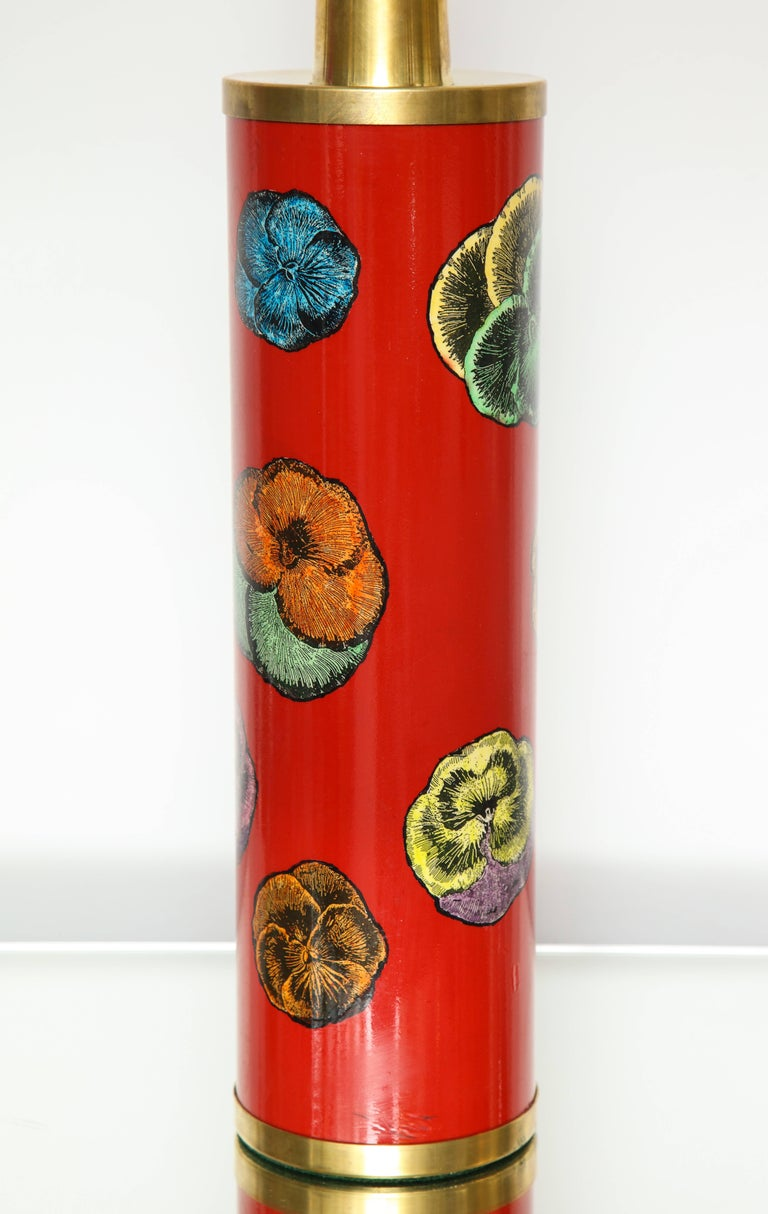 Mid-Century Modern Fornasetti Red Pansy Design Lamp For Sale