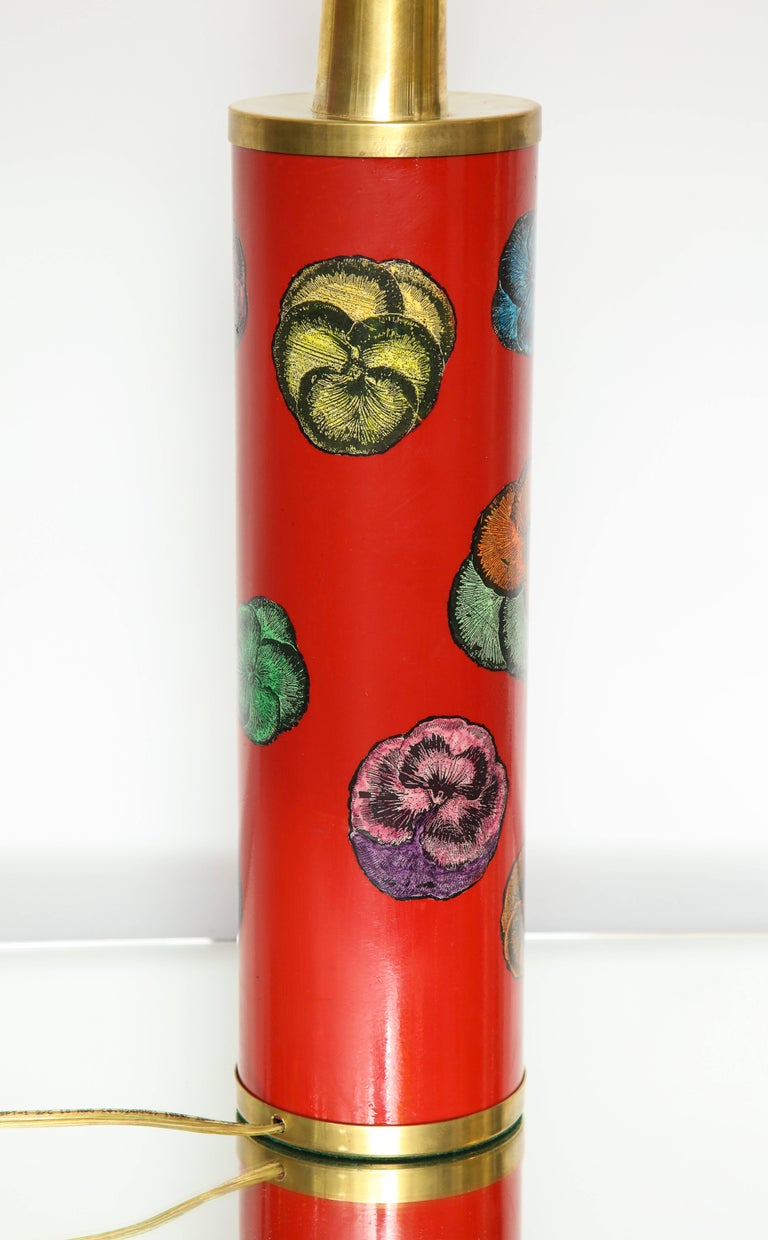 Fornasetti Red Pansy Design Lamp In Excellent Condition For Sale In New York, NY