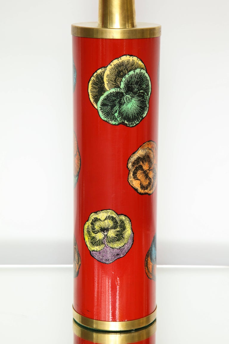 Italian Fornasetti Red Pansy Design Lamp For Sale