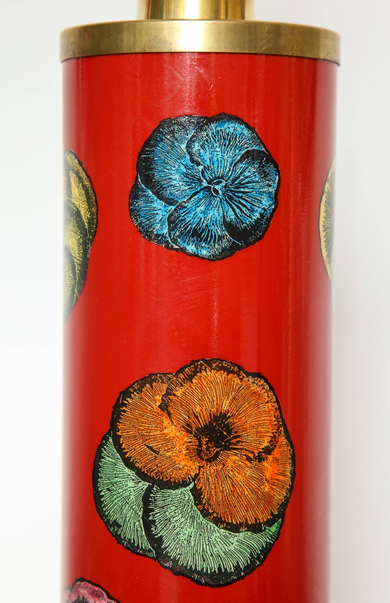 Machine-Made Fornasetti Red Pansy Design Lamp For Sale