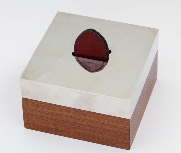 French Hermes Wood, Silver Plate and Leather Box  For Sale