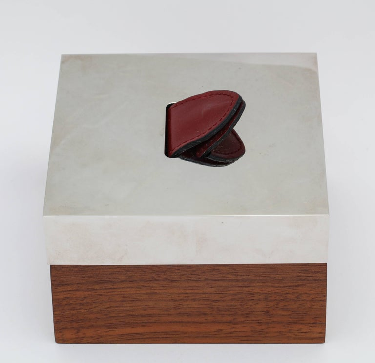 Hermes Wood, Silver Plate and Leather Box  For Sale 1