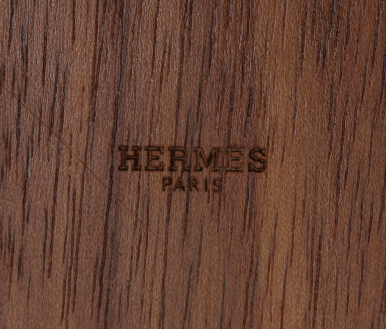 Hermes Wood, Silver Plate and Leather Box  For Sale 2