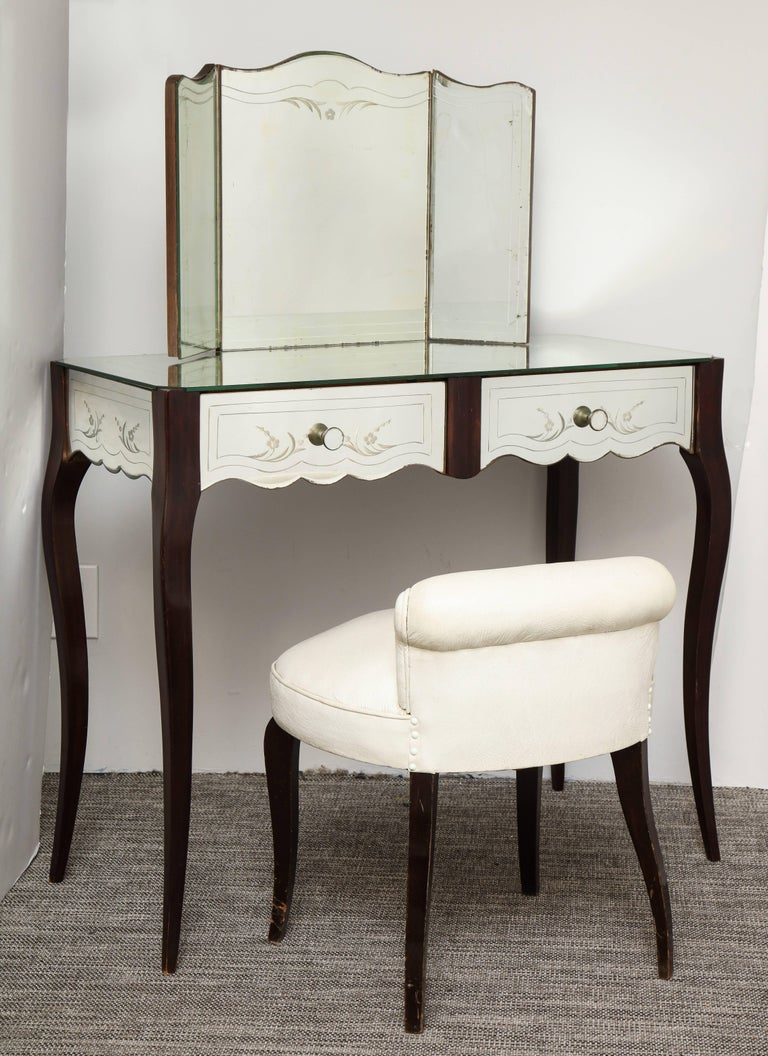 French Deco Mirrored Two Drawer Vanity Or Poudr 233 With