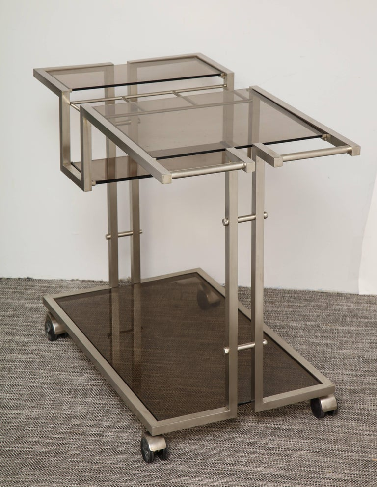 Vintage Italian Brushed Nickel Bar Cart with Bottle Insert and Shelves In Good Condition For Sale In New York, NY