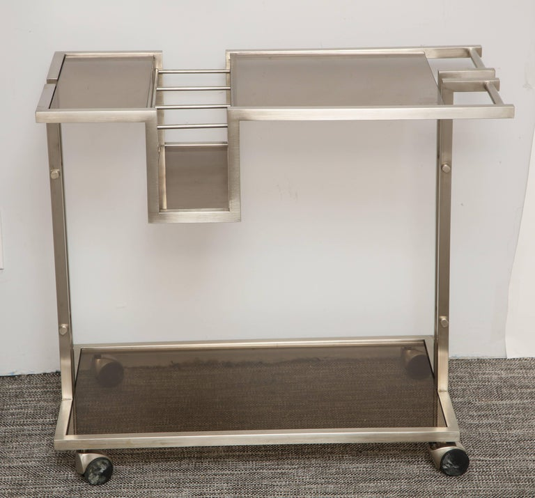 Late 20th Century Vintage Italian Brushed Nickel Bar Cart with Bottle Insert and Shelves For Sale