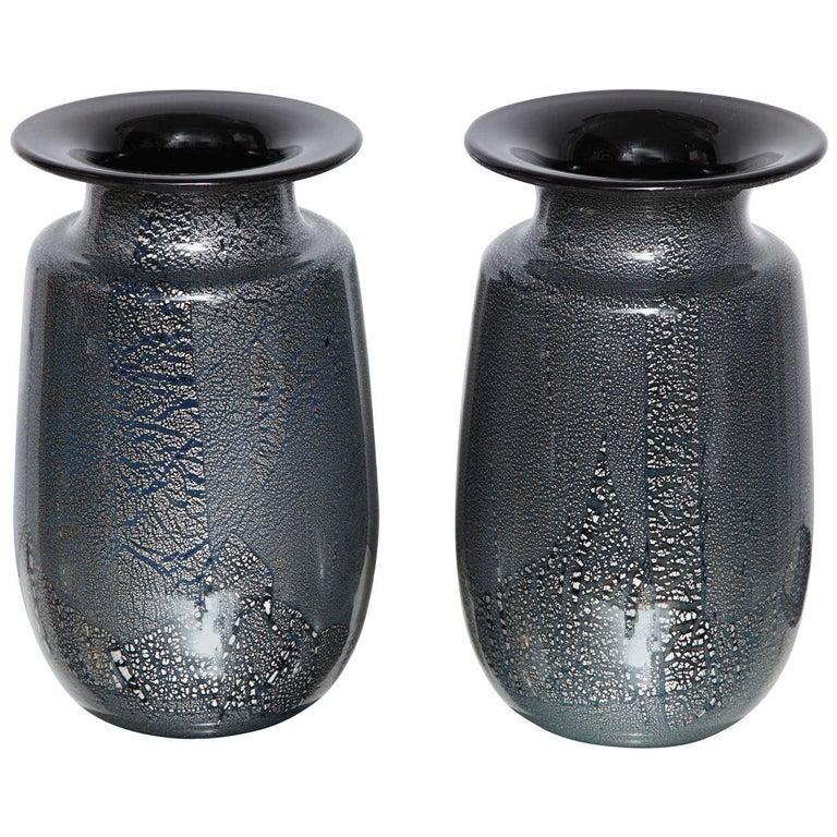 Seguso Vetri d'Arte Silver Leaf Black/Blue Glass Vases