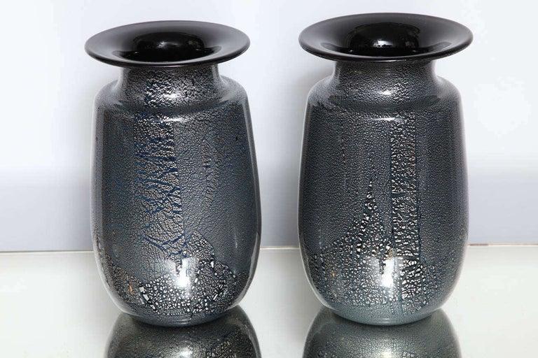 Modern Seguso Vetri d'Arte Silver Leaf Black/Blue Glass Vases
