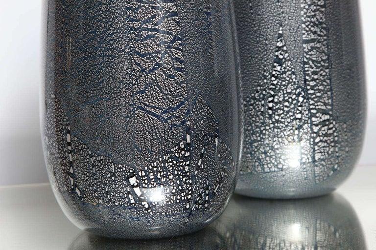 Late 20th Century Seguso Vetri d'Arte Silver Leaf Black/Blue Glass Vases