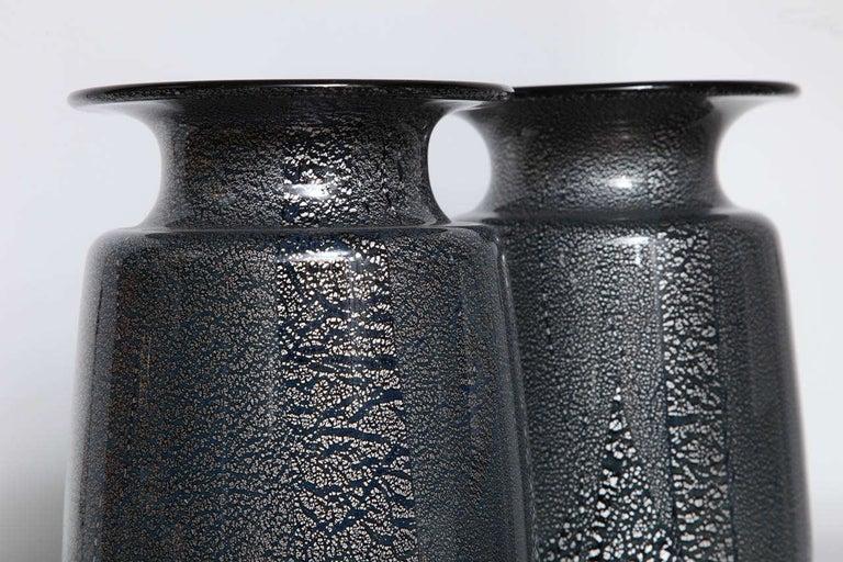 Seguso Vetri d'Arte Silver Leaf Black/Blue Glass Vases 1