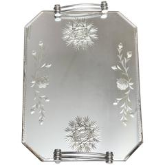 Wheel Etched and Bevelled Mirrored Vanity Tray
