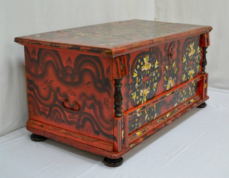 Hand-Painted Hungarian Pine Trunk or Blanket Chest in Original Paint For Sale